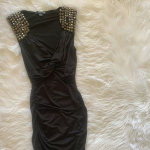 Studded black ruched Dress